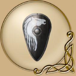"LARP 42"" by 24"" curved teardrop with painted horse design Shield"